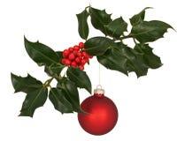 De tak van de hulst met de decoratie van Kerstmis royalty-vrije stock foto's