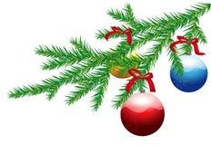 De tak van de kerstboom met Kerstmisballen Stock Fotografie