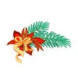 De tak van de Kerstmisdecoratie met boog en poinsettiavector Royalty-vrije Stock Afbeeldingen