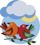 De tak van de lente met twee vogels Royalty-vrije Stock Foto