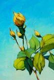 De tak van geel nam, schilderend met olie op canvas toe Stock Foto