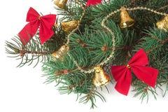 De tak van Kerstboom met korte die naalden verfraaide klokken en bogen op witte achtergrond worden geïsoleerd Royalty-vrije Stock Afbeeldingen