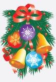 De tak van Kerstmis met helder speelgoed Stock Afbeelding
