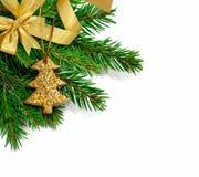 De tak van de Kerstmisspar met gouden die lint op een wit wordt geïsoleerd Stock Foto's