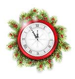 De Takken van de Kerstmisspar met Klok Stock Foto's
