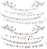 De takken van de krabbelboom en partijvlaggen Stock Afbeelding