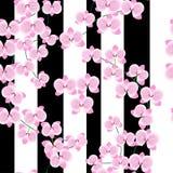 De takken van een mooie roze orchidee op een lichte achtergrond met brede lilac strepen Naadloos patroon royalty-vrije illustratie