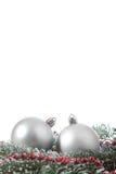De takspar van twee Kerstmisballen Stock Fotografie