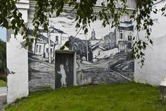 De talande väggarna av staden av Borovsk (Ryssland) Fotografering för Bildbyråer