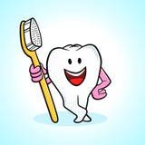 De tand en de tandenborstel van het beeldverhaal Stock Fotografie