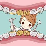 De tand van de beeldverhaalvrees met tandarts royalty-vrije illustratie