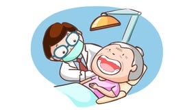 De tandarts behandelt grootmoeder in de kliniek Vector Illustratie