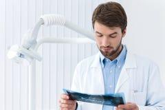 De tandarts bestudeert het röntgenogram Stock Foto's