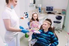 De tandarts geeft een stuk speelgoed voor weinig geduldig, krijgen de gelukkige kinderen een heden royalty-vrije stock afbeelding