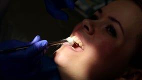De tandarts onderzoekt of maakt zorgvuldig tanden van meisje schoon stock video