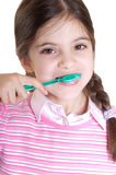 De tanden van het kind het borstelen Stock Foto's