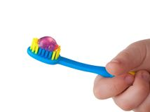 De tandenborstel van de baby stock afbeeldingen