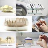 De tandtandarts heeft collage bezwaar Stock Afbeeldingen