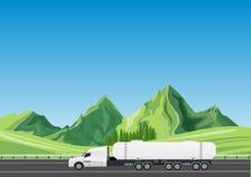 De tanker van de olievrachtwagen het drijven op de weg stock illustratie