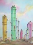 De Tanks van de Raffinaderij van de olie Royalty-vrije Stock Afbeelding