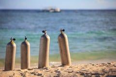 De tanks van de scuba-uitrusting royalty-vrije stock fotografie