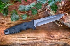 ` De Tanto de ` de couteau avec l'astuce de Katana, dans le bois Images stock