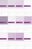 De tapijtwerk en violetkleurige rook kleurde geometrische patronenkalender 2016 Royalty-vrije Stock Afbeelding