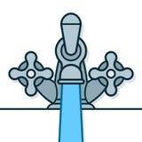 De tapkraan gietend water van het twee handvatchroom stock illustratie