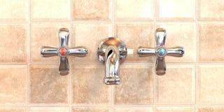 De Tapkraan van de badkamers Stock Foto's