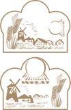 De tarwe en het landschap van het etiket Royalty-vrije Stock Foto