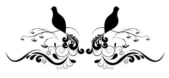De tatoegering van de bloem en van de vogel Royalty-vrije Stock Foto's