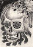 De tatoegering van de kunstschedel Stock Afbeeldingen