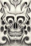 De tatoegering van de kunstschedel Stock Foto