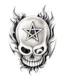 De tatoegering van de kunstschedel pentagram stock illustratie