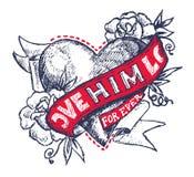 De tatoegering van de liefde Stock Illustratie