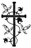 De tatoegering van de rots. Zwart kruis met bloemenornament Stock Afbeeldingen