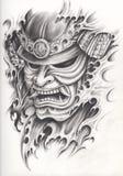 De tatoegering van de samoeraienstrijder Stock Foto