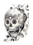 De tatoegering van de schedelkunst Stock Fotografie