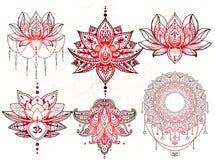 De tatoegering van Sethmandala, Lotus Stock Foto's