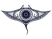 De tatoegeringspatroon van de Maoristijl in vorm van mantastraal Pasvorm voor schouders en hogere rug Royalty-vrije Stock Foto