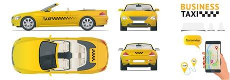 De taxi van de Cabrioauto Vlak hoge overdracht, - van het de dienstvervoer van de kwaliteitsstad het pictogramreeks Bouw uw eigen stock illustratie