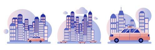 De taxidienst Achtergrond de stad met wolkenkrabbers Vlakke stijl vector illustratie