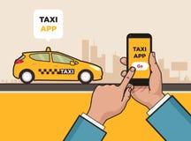 De taxidienst app Hand met smartphone en touchscreen Royalty-vrije Stock Afbeeldingen