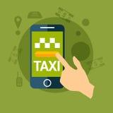 De taxidienst De Mobiele Telefoon van de handgreep Vector illustratie Mobiele app voor het boeken van de dienst Stock Afbeeldingen