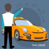 De taxidienst Smartphone en het aanrakingsscherm De vectorillustratie van de beeldverhaalaffiche Banners voor uw Webontwerp in za Royalty-vrije Stock Afbeeldingen