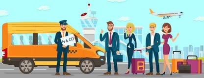 De taxidiensten in Luchthaven Vector vlakke illustratie royalty-vrije illustratie