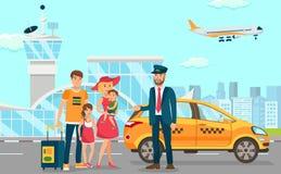 De taxidiensten in Luchthaven Vector vlakke illustratie stock illustratie