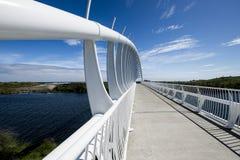 De Te Rewarewa-voetgangersbrug in Taranaki stock foto's