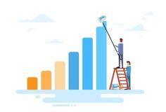De Team Drawing Financial Bar Graph da finança executivos do conceito do sucesso Imagem de Stock