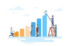 De Team Drawing Financial Bar Graph da finança executivos do conceito do sucesso Foto de Stock
